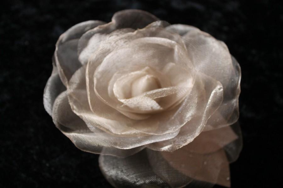 Mariage - Bridal Hair Piece, Wedding Hair Piece, Champagne Organza Hair Clip Flower  Rose Bridal Fascinator