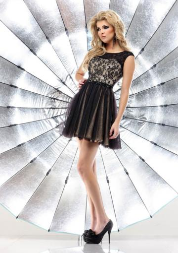 Wedding - Scoop Sleeveless Tulle Ruched Black Chiffon Short