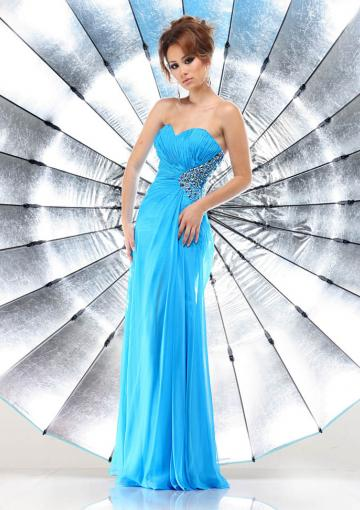 Wedding - Sweetheart Chiffon Crystals Blue Ruched Floor Length