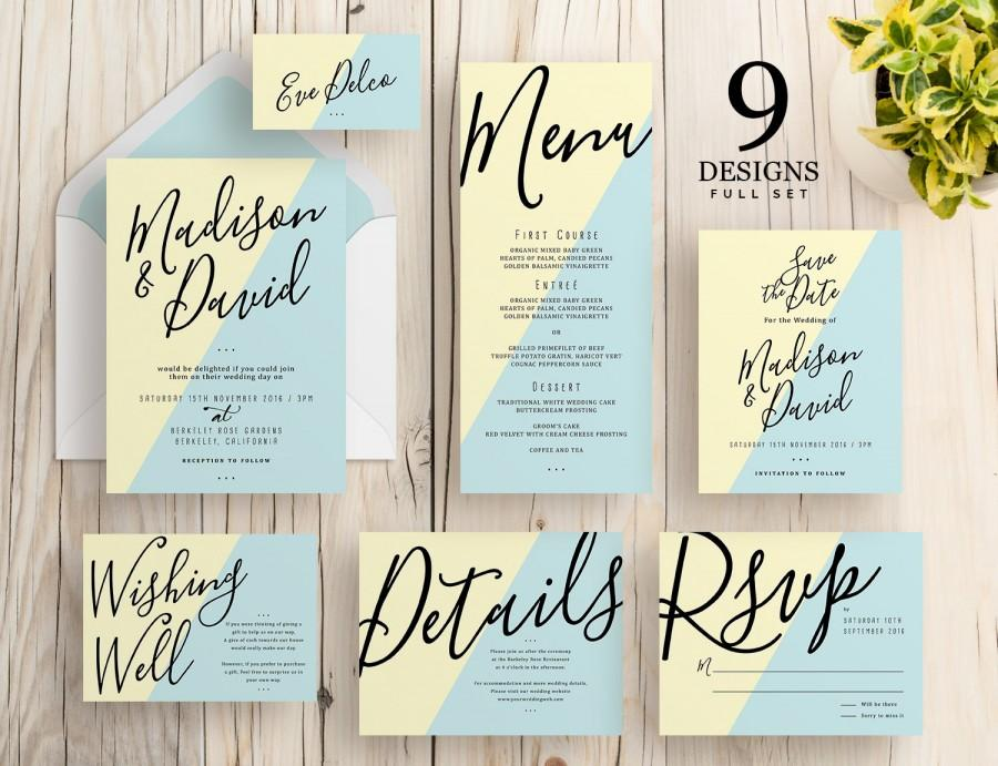 Wedding Invitation Set, Modern Wedding Invitation, RSVP Postcard ...
