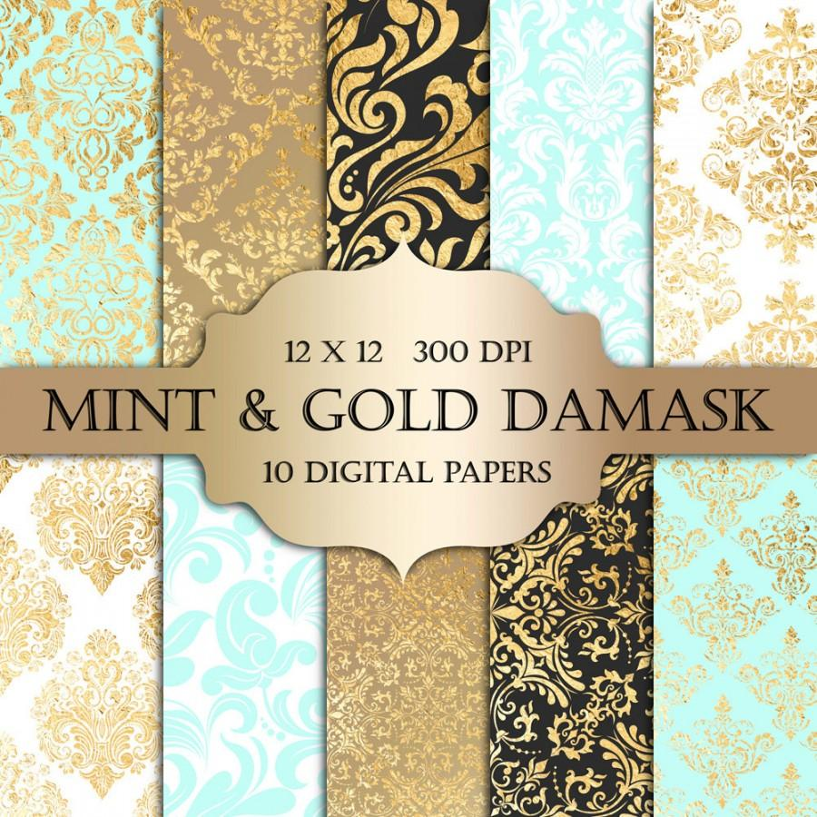 Mint & Gold Foil Damask Digital Paper - Mint Gold Damask ...