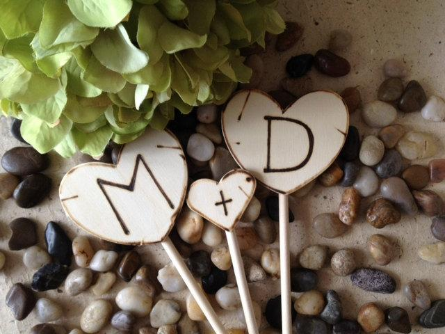 Wedding - Cupcake Toppers Personalized with YOUR Initials Perfect for Cupcakes or Pies - So Sweet for your Rustic Chic Vintage Country Wedding
