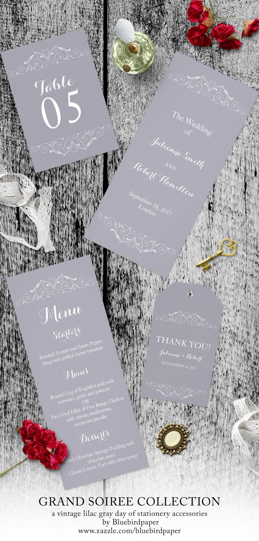 Wedding - Grand Soiree, a vintage lilac gray day of stationery accessories