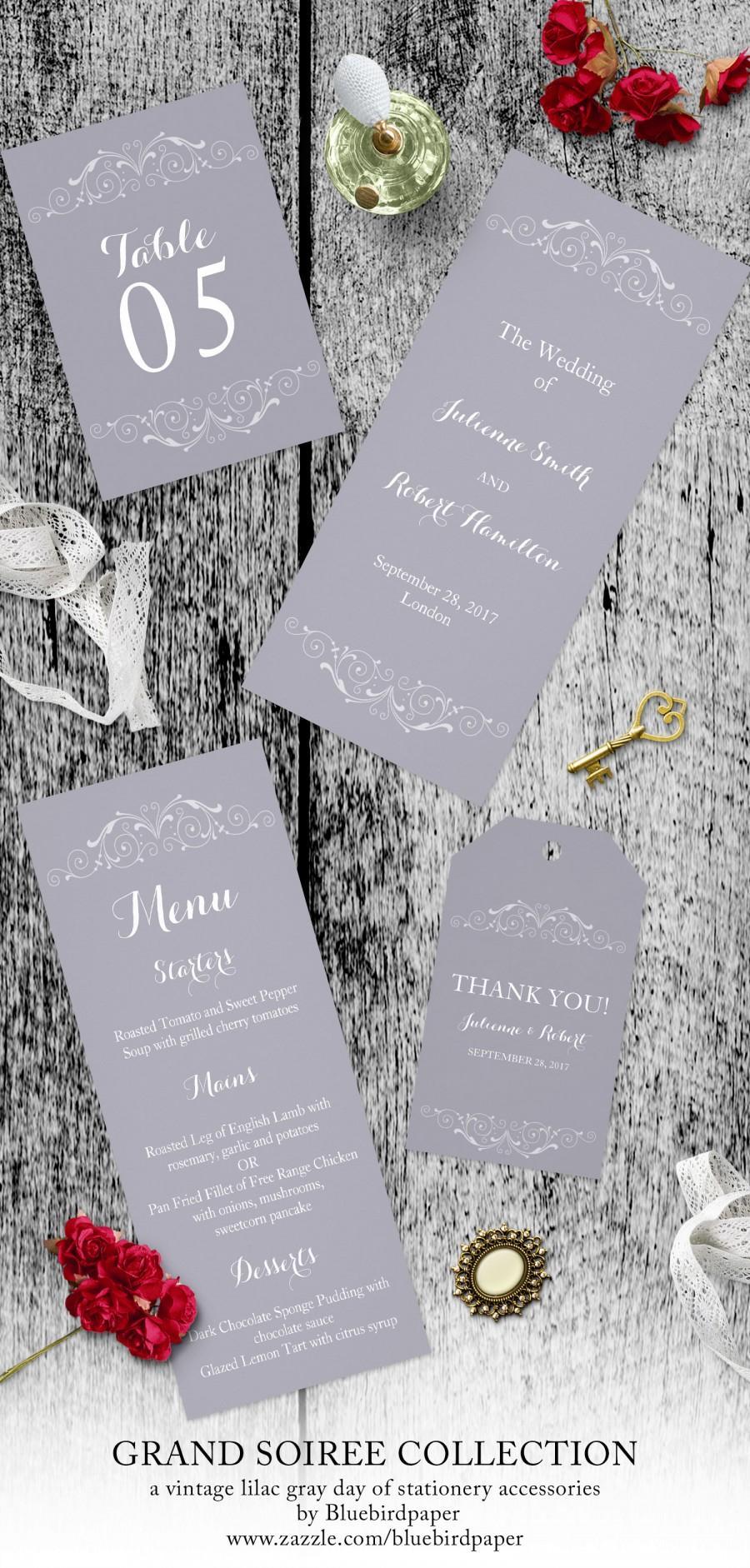 زفاف - Grand Soiree, a vintage lilac gray day of stationery accessories