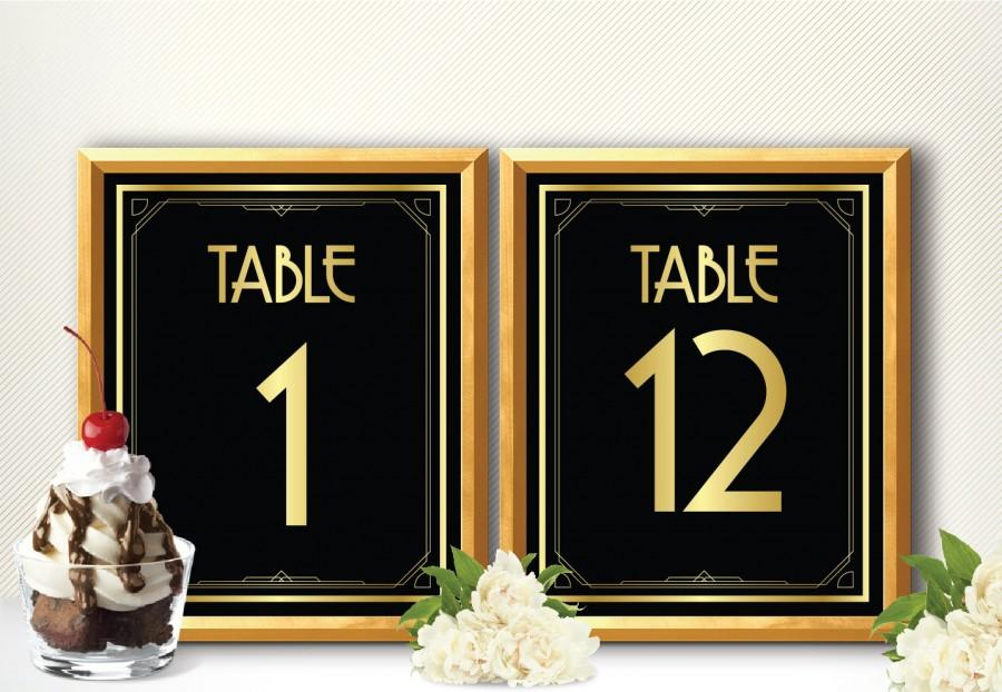 Printable table numbers 1 12 art deco style great gatsby for Art deco party decoration ideas