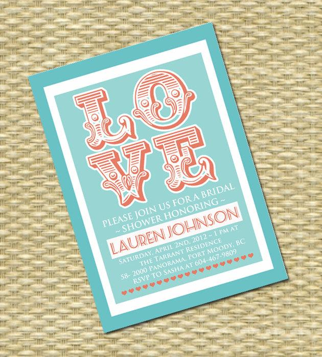 vintage love bridal shower invitation retro style wedding shower couples shower bridal brunch bridal tea any event any colors
