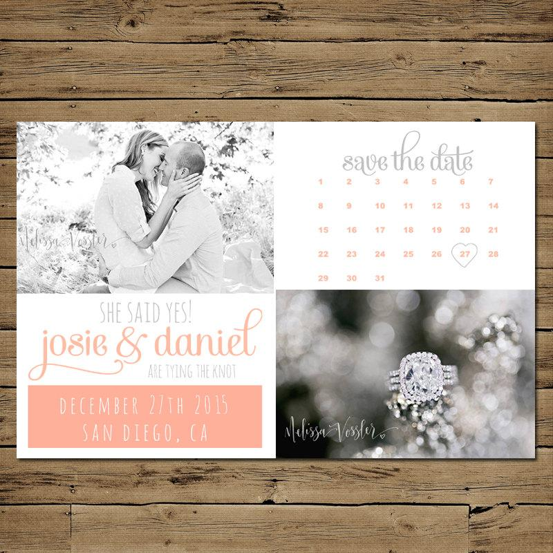 Wedding - Printable Save the Date Postcard - Personalized Engagement Announcement - Vintage Calendar