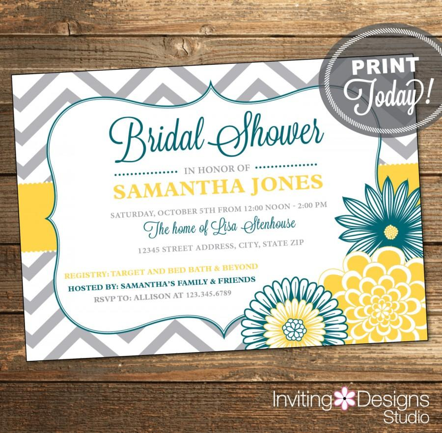wedding shower invitation bridal shower invitation chevron floral teal yellow gray grey printable custom order instant download