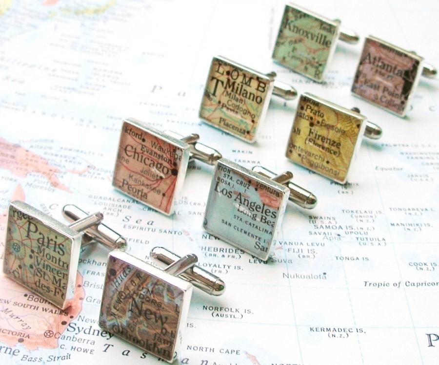 Свадьба - Custom Map Cufflinks.  You Select the Journey.