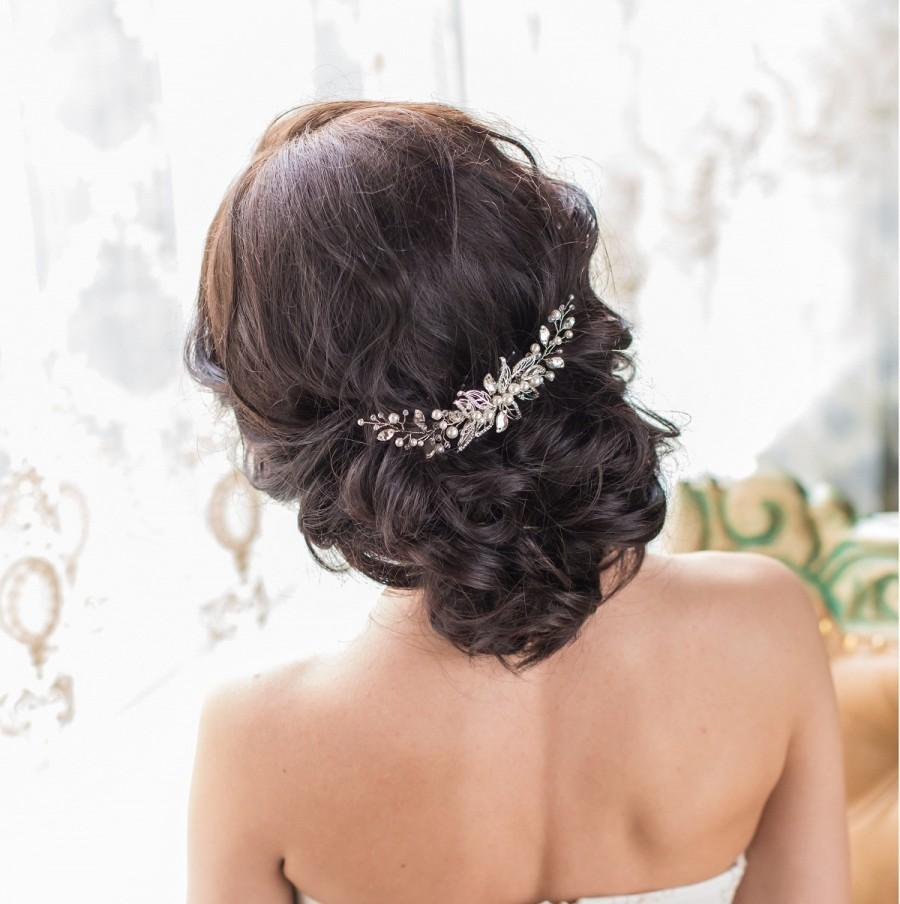 زفاف - Bridal hair comb  Bridal hair piece  Bridal headpiece  Leaf hair comb  Crystal hair comb  Leaf hair piece