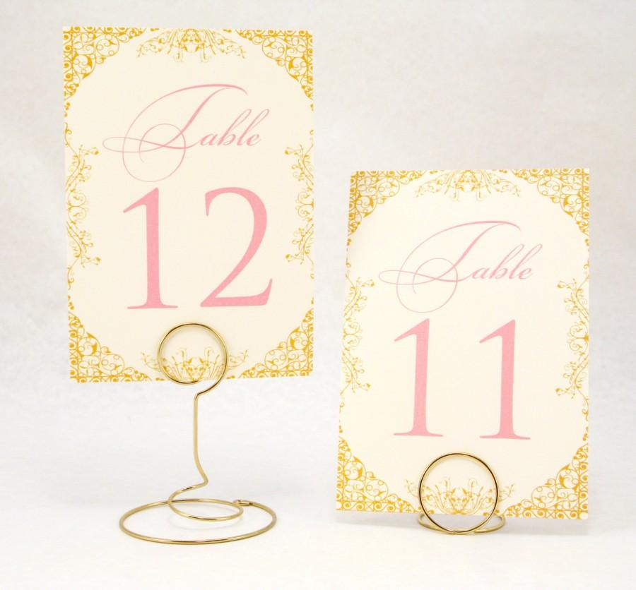 زفاف - Gold, Blush Pink and Ivory Wedding Table Number Cards