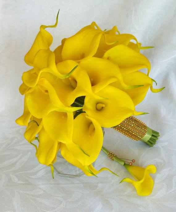 زفاف - Real touch mini yellow calla lily bridal bouquet