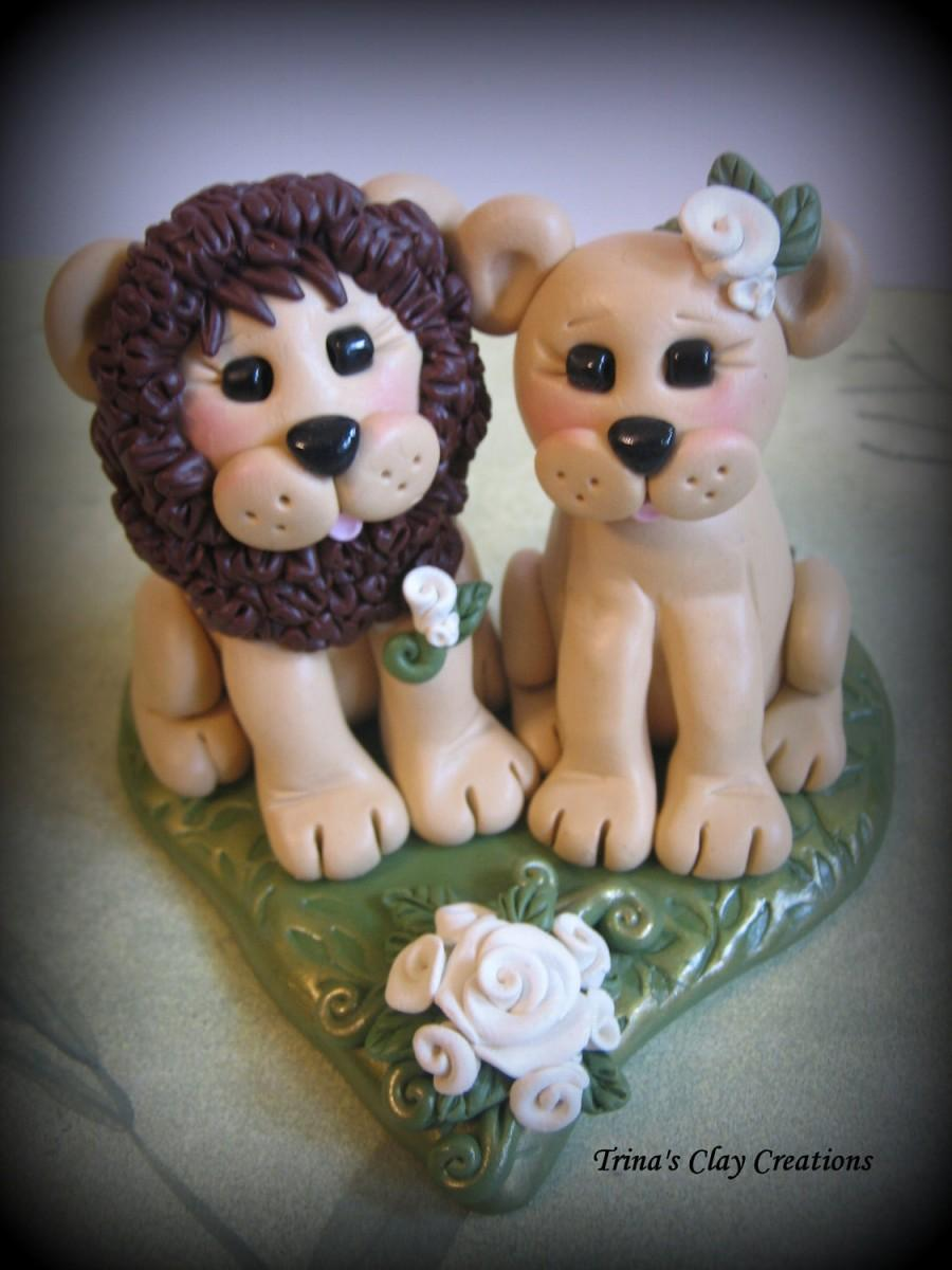 Wedding cake topper lion and lioness custom lion polymer for Lioness and lioness wedding dresses