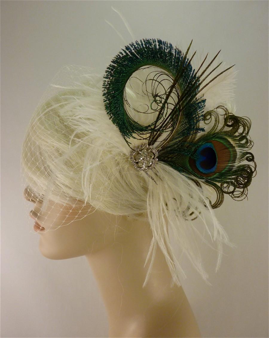 Wedding - Rock On - Bridal Feather Fascinator, Bridal Fascinator, Fascinator, Bridal Headpiece, Hair Clip, Bridal Veil, Wedding Veil, Rhinestones