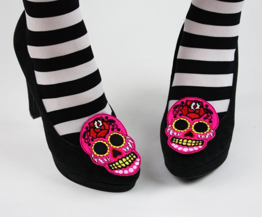 Hochzeit - Sugar Skull Shoe Clips, Day of the Dead