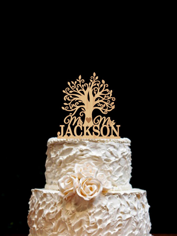 Mariage - Wooden tree Cake Topper Rustic Wedding Cake Topper Custom Cake Topper