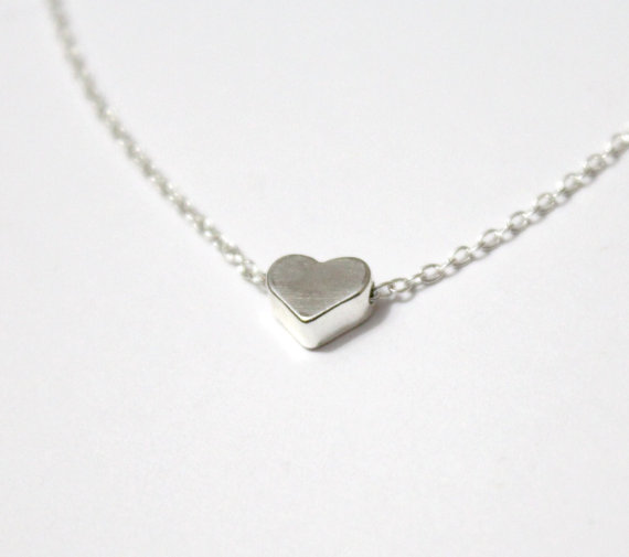 Tiny silver heart necklace little heart sterling silver chain tiny silver heart necklace little heart sterling silver chain minimalist jewelry silver heart necklace floating heart pendant aloadofball Gallery