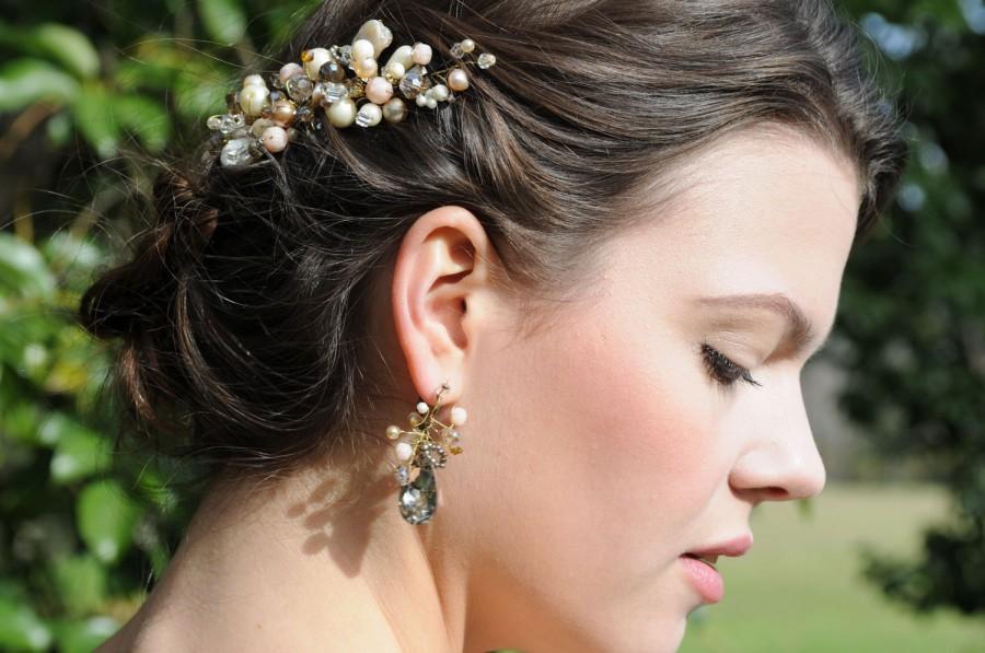 Mariage - Blush hair piece, Bridal hair accessories,Vintage wedding, Destination wedding, Pearls and crystals hair accessories,wedding accessory hair
