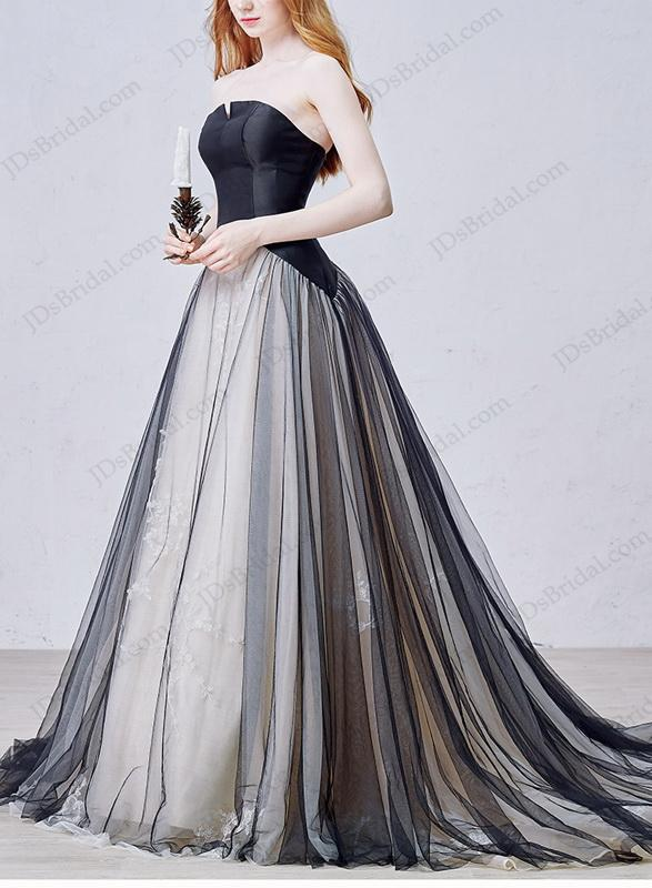 Is054 Black Tulle Wedding Dress With Notch Neckline
