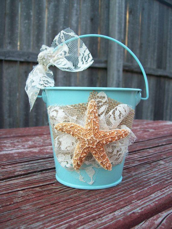 Düğün - Beach Flower Girl Basket For Your Destination Wedding, Starfish Flower Girl Basket, Aqua Flower Girl, Beach Wedding