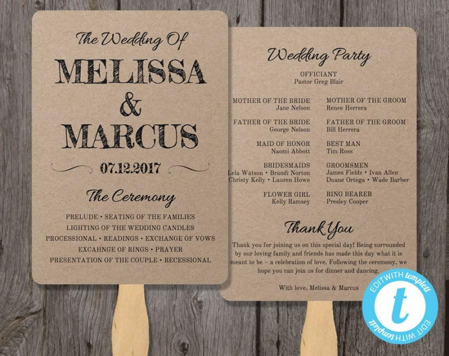 Rustic Wedding Program Fan Template Fan Wedding Program Template