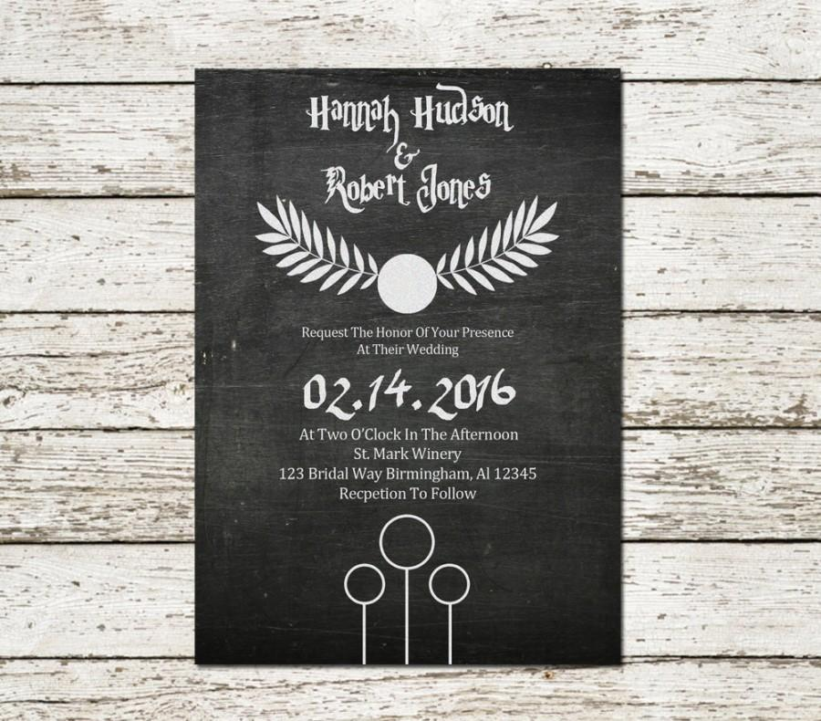 harry potter wedding invitation chalkboard printable sci fi movie geek nerd themed announcement printable digital file download custom - Harry Potter Wedding Invitations