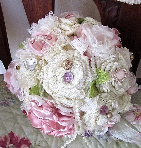 Свадьба - Vintage or Rustic Bridal Bouquet-READY FOR PURCHASE!