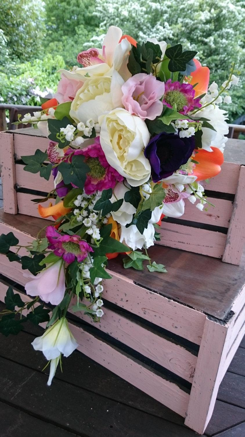 Cascade Tear Drop Silk Wedding Flower Bouquet Peony And Cala Lily ...