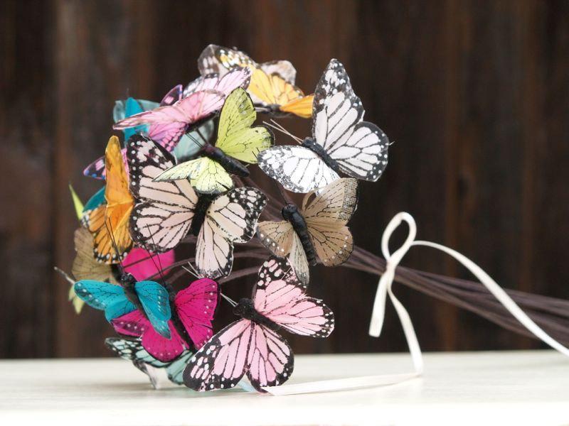 Mariage - Butterfly Bouquet Wedding, Bridesmaids, Flower Girl, Toss Bouquet, Bride, White, Pink, Green Fuschia