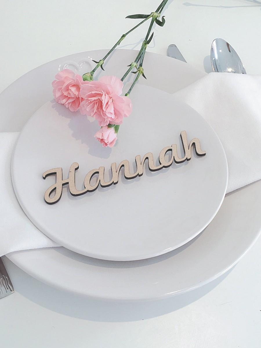 Wooden wedding place name wooden wedding place setting for Wedding place name cards