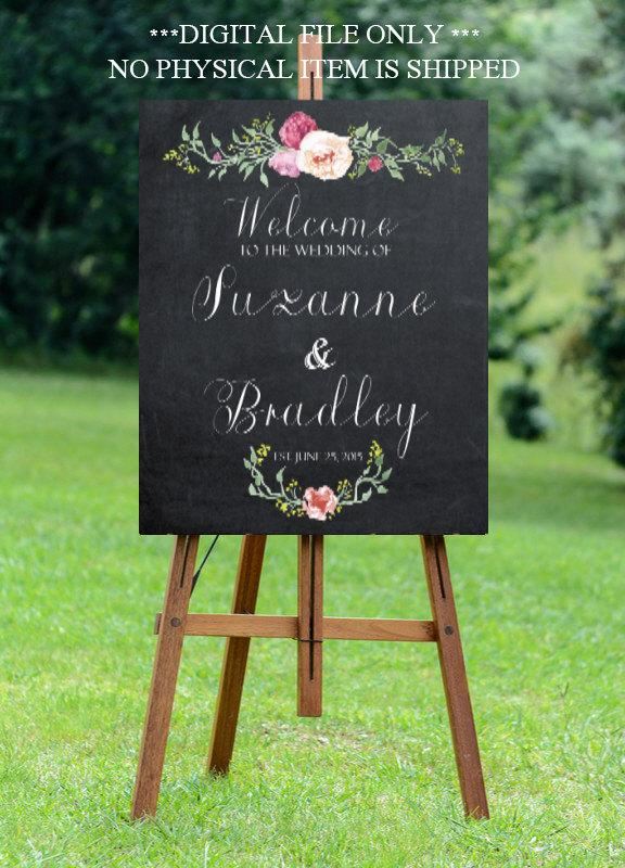 Свадьба - chalkboard wedding sign, printable wedding sign, custom wedding sign, welcome wedding sign, floral wedding sign, 11x14,  16x20, 24x30