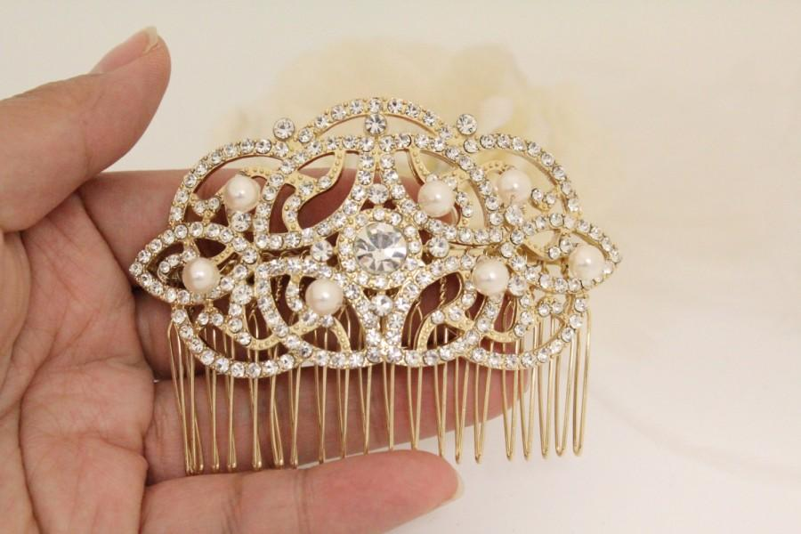 Mariage - Bridal hair comb rose gold bridal hair accessories bridal headpiece wedding hair comb gold wedding hair accessories wedding comb bridal comb