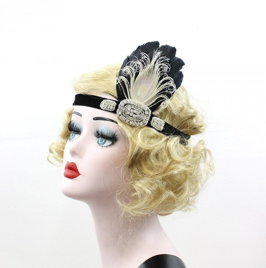 Boda - Black Headband, Great Gatsby Headpiece, Peacock Feather Fascinator, Rhinestone Hair Accessory, 1920s Flapper Headpiece, Girls Dance Costume