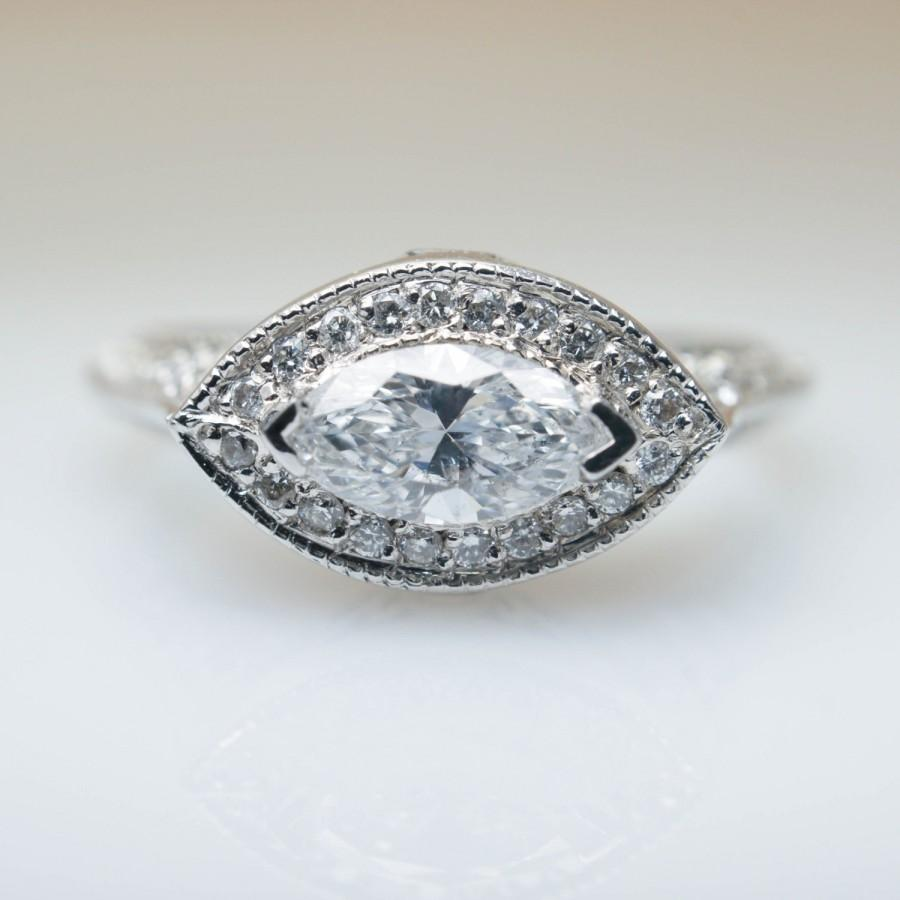 Свадьба - 1.09ctw East West Marquise Diamond Engagement Ring in 18k White Gold East West Engagement Ring Side Diamond Jewelry