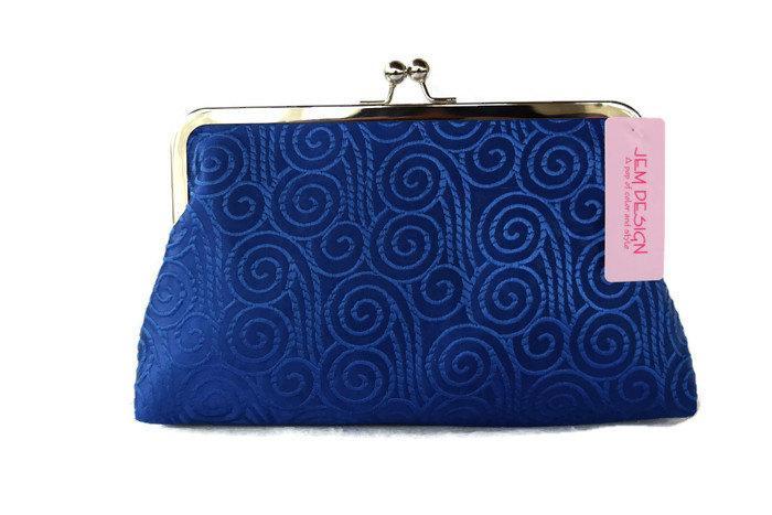 زفاف - Cobalt blue  wedding clutch purse/ Bridal accessory / Something blue/  Bridesmaids gift idea/ Blue Prom clutch ,Evening clutch purse
