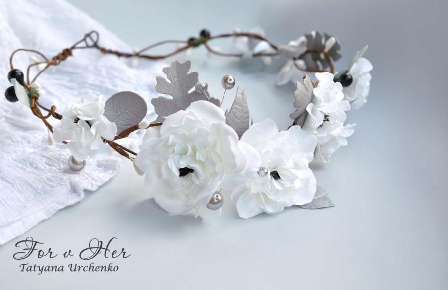 Свадьба - Floral Girl Wedding HeadBand White Bridal Wedding Crown floral crown white flowers silver leaves