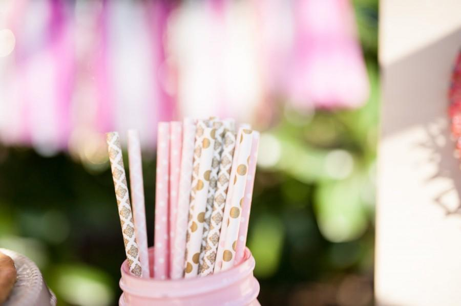 Свадьба - Pink and Gold Party - Pink Paper Straws - Gold Straws - Blush and Gold Wedding * Bridal Party *Gold Wedding Decoration Blush Pink *GOLD