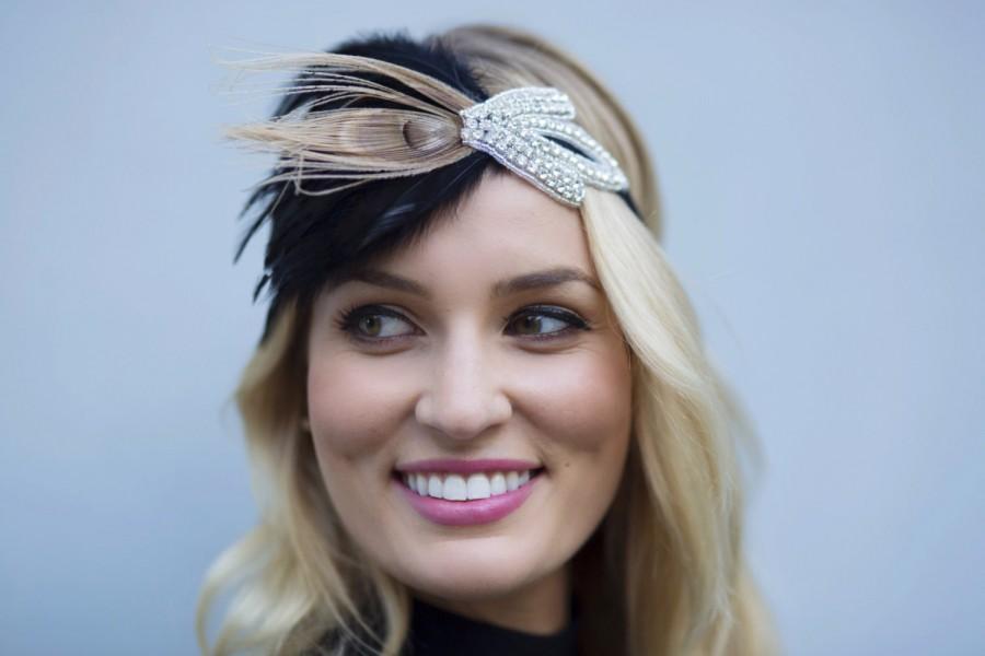 beige peacock accent feather headband peacock rhinestone. Black Bedroom Furniture Sets. Home Design Ideas
