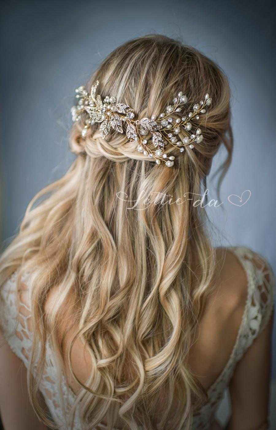 Wedding - Boho Gold or Silver Flower Leaf Hair Vine Wedding Headpiece, Wire Hair comb, Wedding Gold Hair vine leaves, Boho Headpiece - 'EMMALINE'