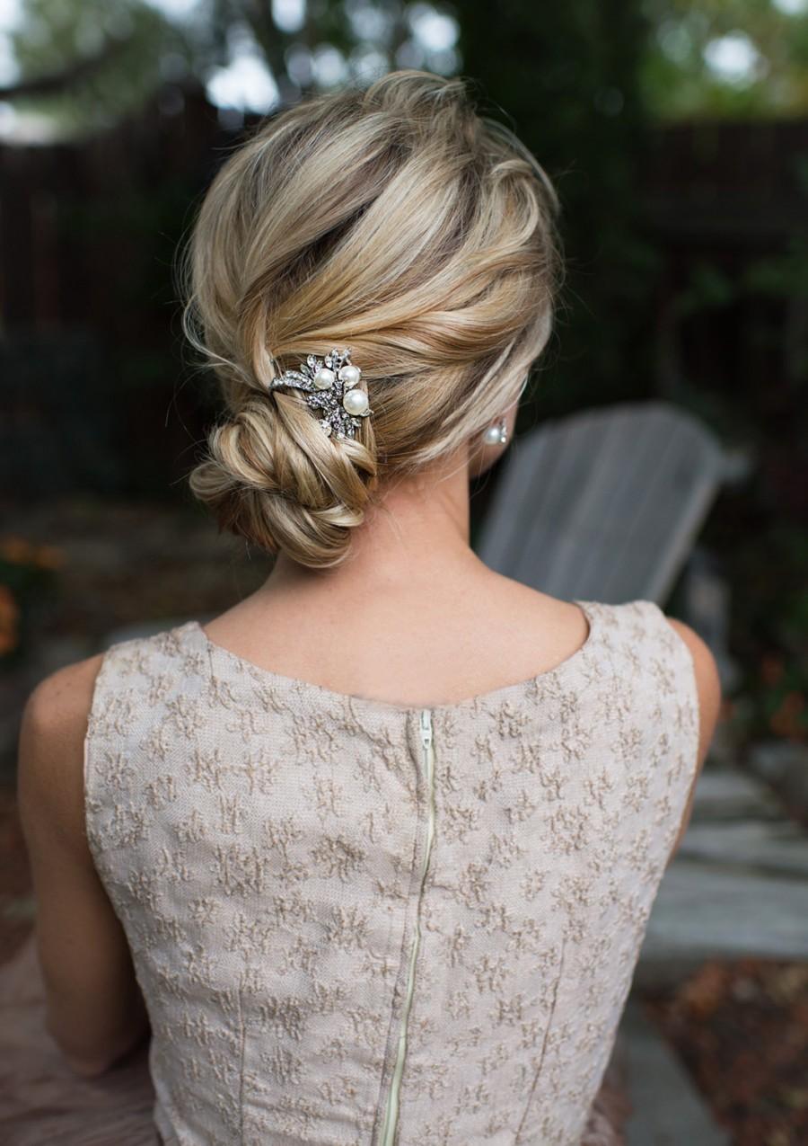 Vintage Style Pearl Hair Pin, Pearl Crystal Floral Hair Pin