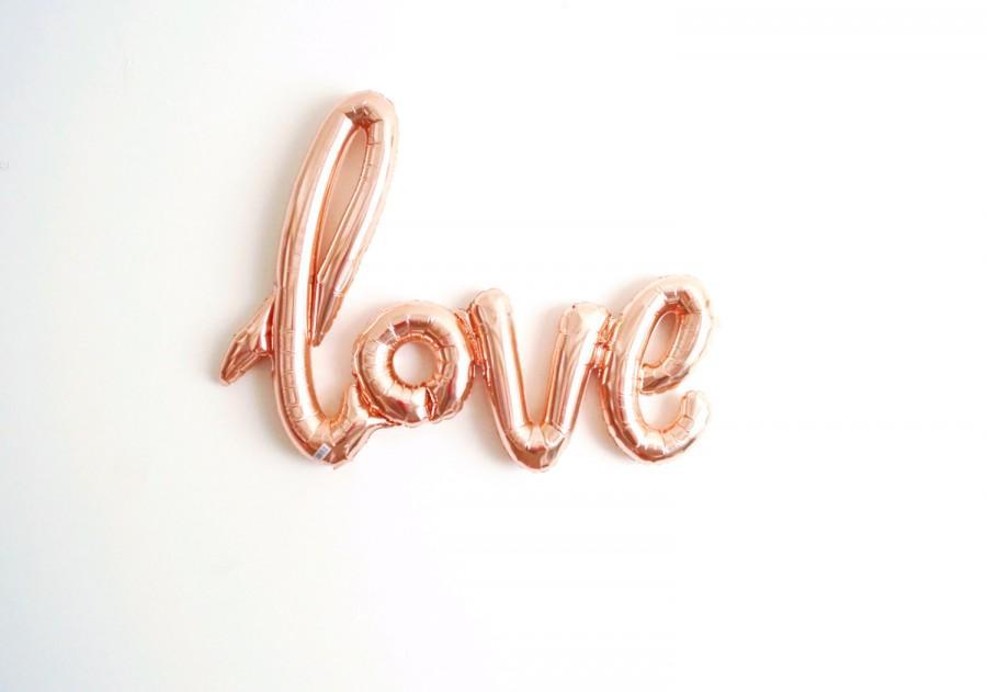 زفاف - FREE SHIPPING rose gold LOVE air fill jumbo mylar balloon wedding engagement bridal shower calligraphy script