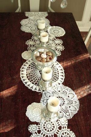 Свадьба - The Pretty Blog Www.lovelyclustersblog.com: DIY Doily Table Runner Inspiration