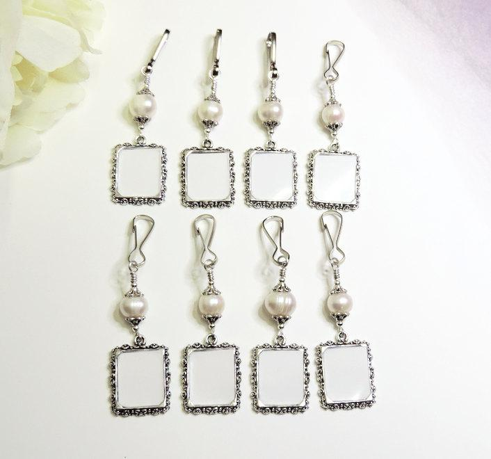زفاف - Wedding bouquet photo charms. 8x Pearl bridal bouquet charms. Gift for the bride. Bridesmaids' gift. Pew Markers. Gift for her.