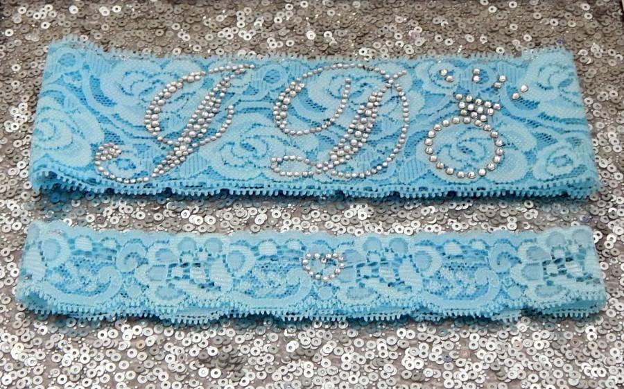 Hochzeit - Wedding Garter Set - Light BLUE Bridal Garter with SILVER Rhinestone I Do Show Garter & Rhinestone HEART Toss Garter - other colors