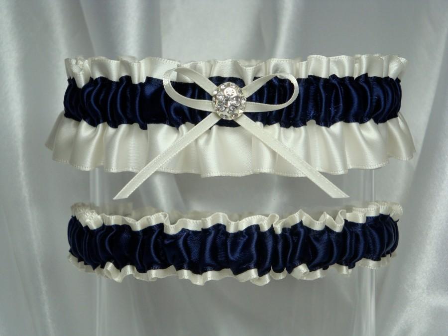Свадьба - Ivory and Navy Blue Satin Garter Set