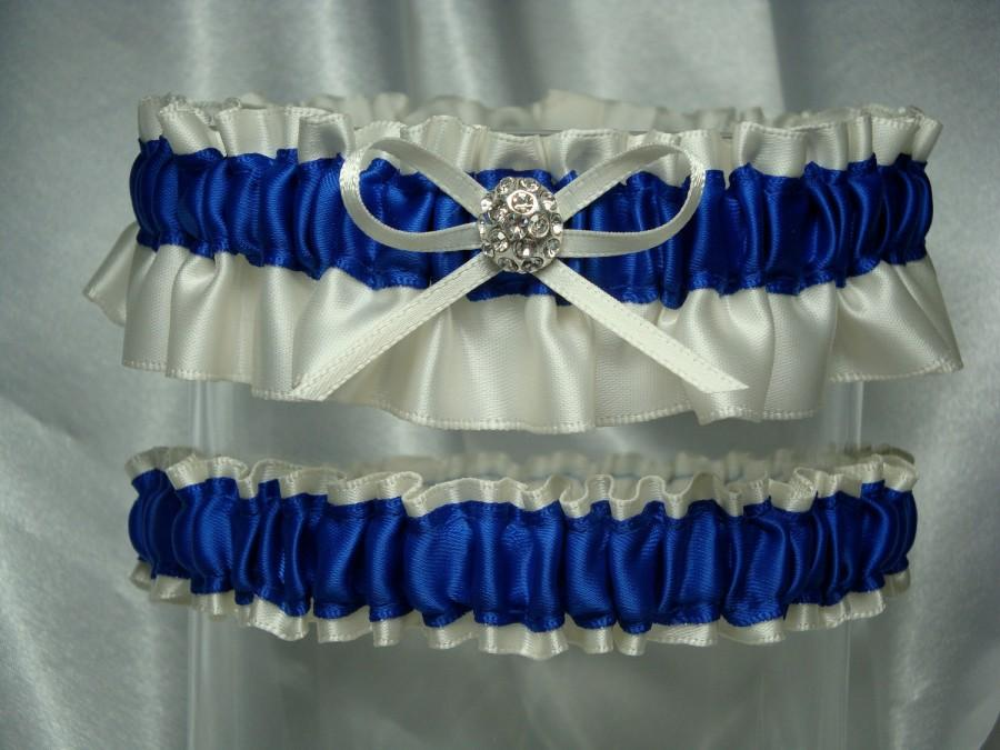 Свадьба - Ivory and Royal Blue Satin Garter Set