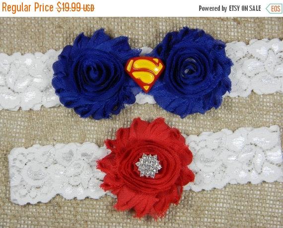 Свадьба - On Sale Superman Wedding Garter, Superhero Bridal Garter and Toss Garter Set, Royal Blue and Red Shabby Chiffon Flower Lace Garter, Geeky Ga