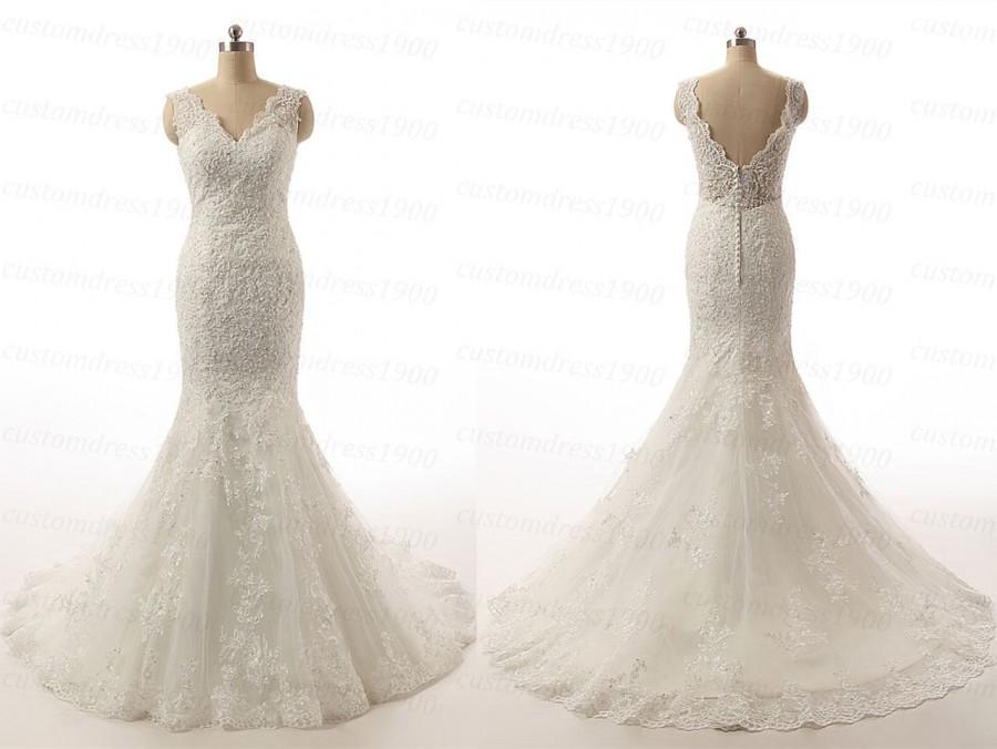 Sexy V Back Bridal Gowns Handmade Appliqued Tulle Mermaid Wedding Dress White Ivory Cap Sleeve