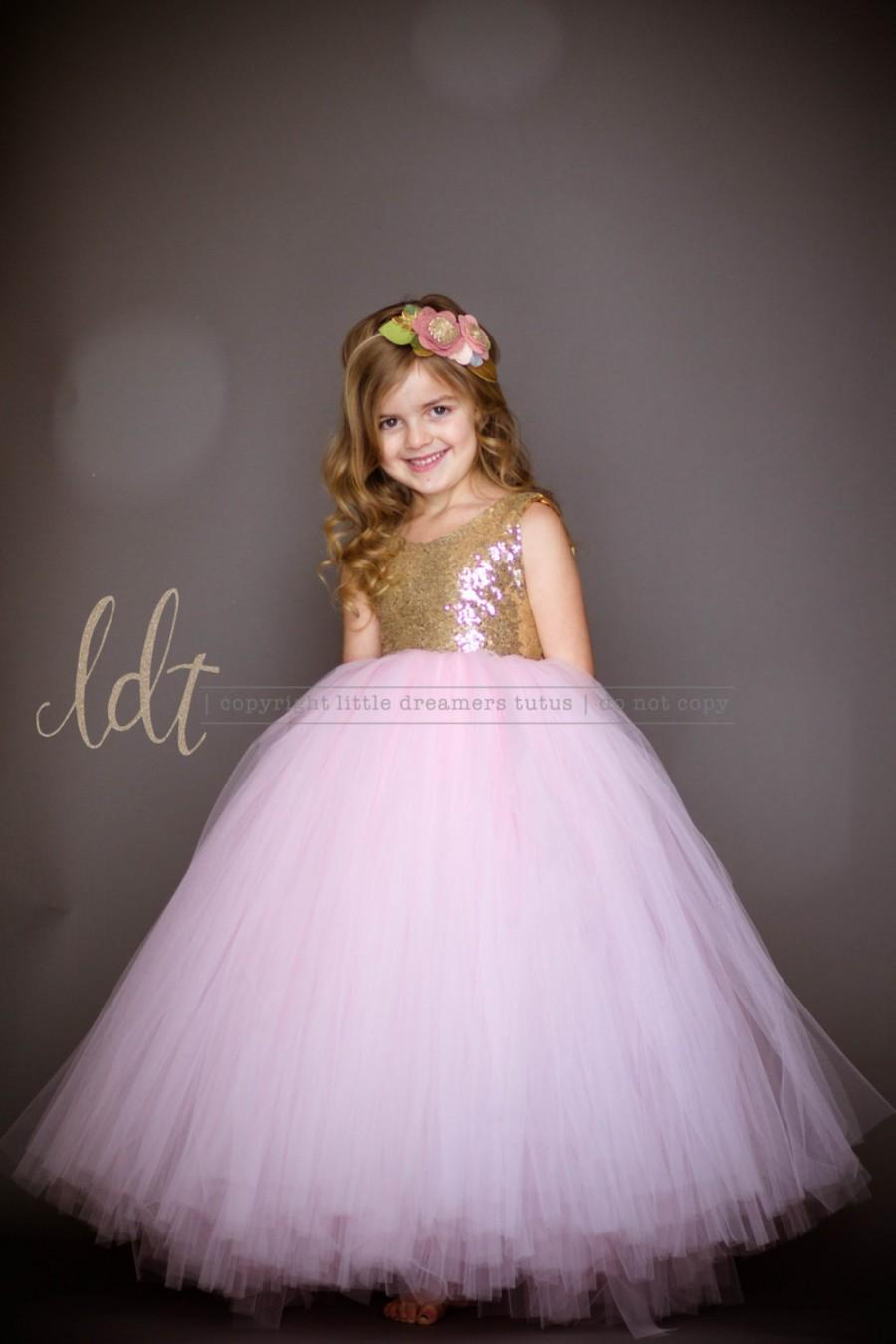 2ed32c0edf8 The Juliet Dress in Gold Sequins and Light Pink Tulle - Flower Girl Dress