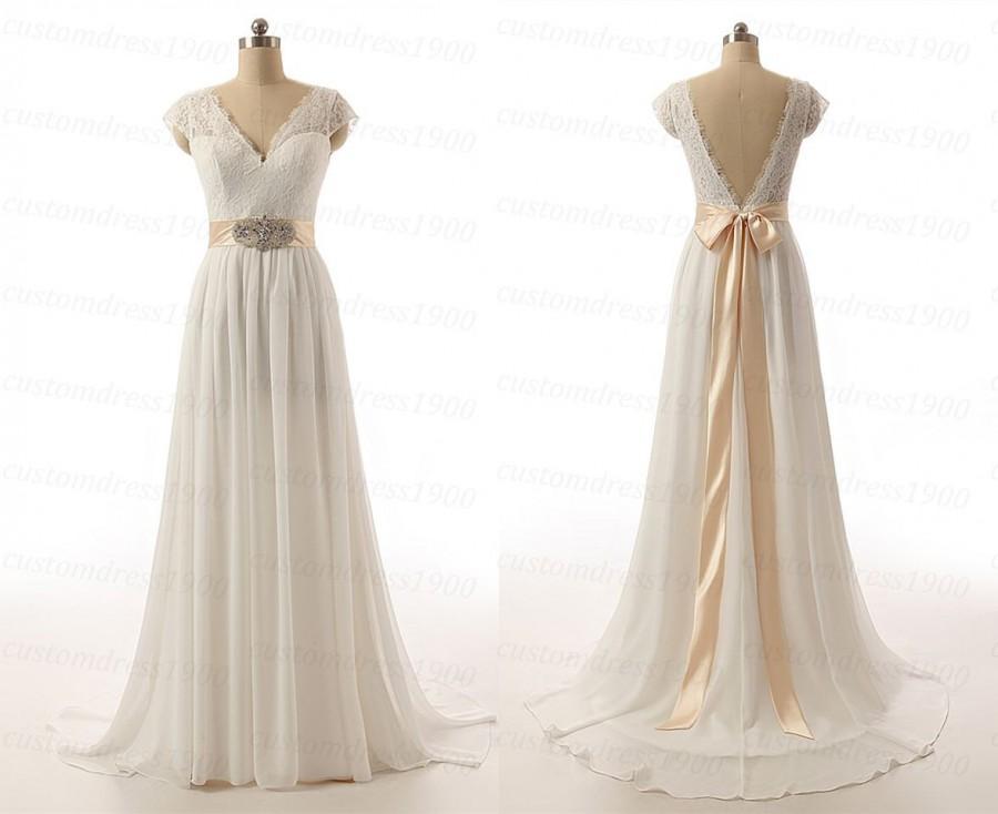 زفاف - Sexy V-Back Cap Sleeve Handmade Chiffon Bridal Gowns White/Ivory Sweep Train Lace Wedding Dress